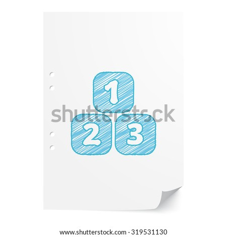 Blue hand drawn 123 Blocks illustration on white paper sheet with copy space - stock vector