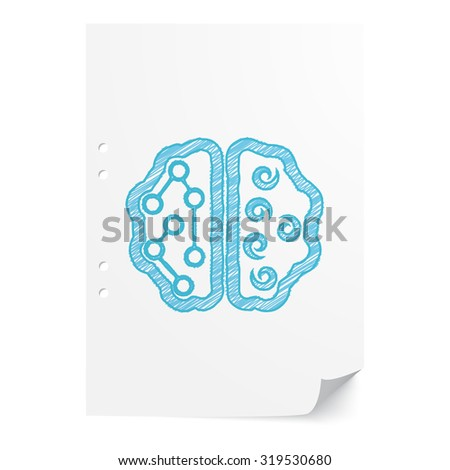 Blue hand drawn Brain illustration on white paper sheet with copy space - stock vector
