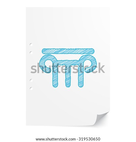 Blue hand drawn Column illustration on white paper sheet with copy space - stock vector