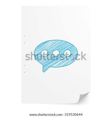 Blue hand drawn Comment illustration on white paper sheet with copy space - stock vector