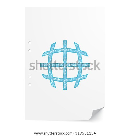 Blue hand drawn International  illustration on white paper sheet with copy space - stock vector