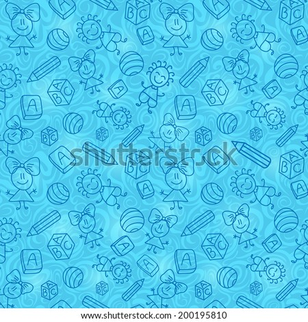 Blue Hand Drawn Seamless Pattern with Kid, Book and Pencil Silhouettes. Vector Background - stock vector