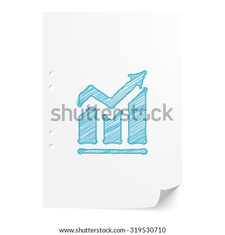 Blue hand drawn Trend illustration on white paper sheet with copy space - stock vector