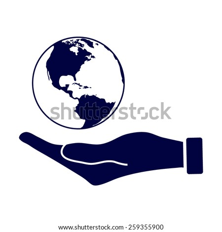 Blue Hand holding Globe earth icon  - stock vector