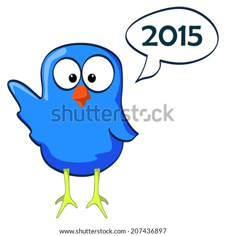 Blue happy little bird with speech bubble for happy new year 2015. Vector illustration.