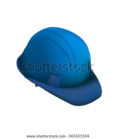 Blue Hard Cap. Helmet Isolated - stock vector