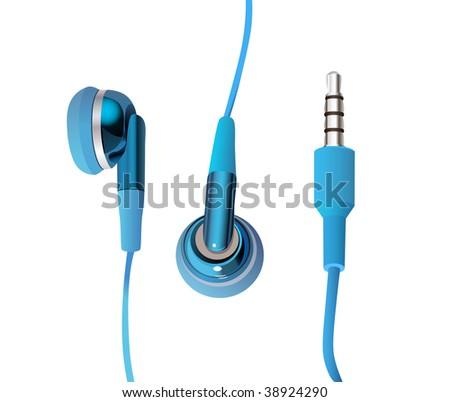 blue headphones - stock vector