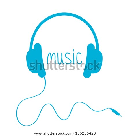 Blue headphones with cord and word Music.  Isolated. Card. Vector illustration. - stock vector