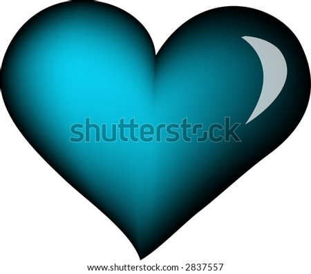 blue heart - stock vector