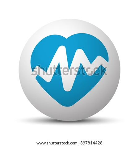 Blue Heart Rate Pulse icon on sphere on white background - stock vector