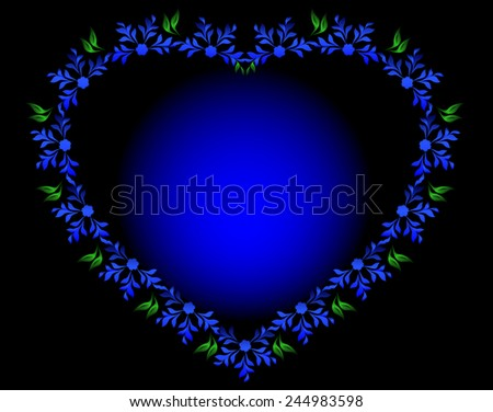 Blue heart with flowers and leaves for Valentine's Day. EPS10 vector illustration. - stock vector