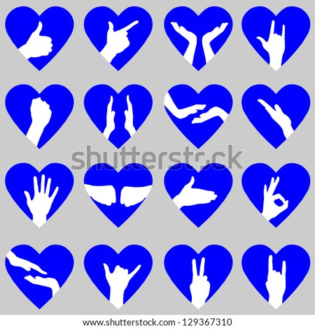 Blue Hearts with Hand Silhouettes. Also see red version - stock vector