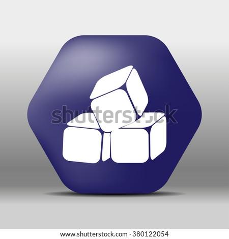 blue hexagon icon or logo ice cubes - stock vector