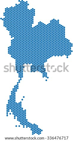 Blue hexagon shape of Thailand map on white background. Vector illustration.