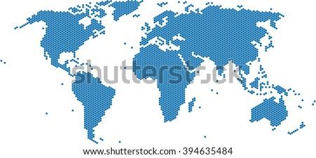 Hexagon shape world map on white vectores en stock 644131648 blue hexagon world map on white background vector illustration gumiabroncs Choice Image