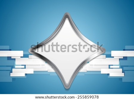 Blue hi-tech background with metal shape. Vector design - stock vector