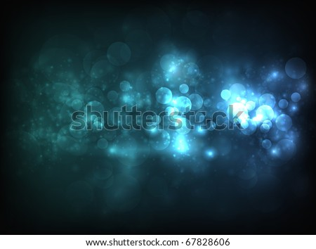 Blue horizontal bokeh-like blur design on dark background. Design has a lot of bokeh particles and lights - stock vector