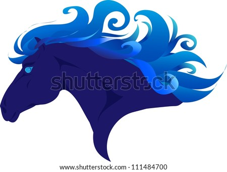 Blue horse - stock vector