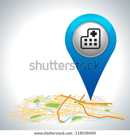 blue hospital pointer on map location. - stock vector
