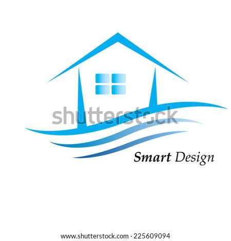 Blue house logo  - stock vector