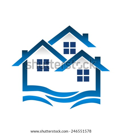 Blue houses and waves real estate business card logo template  - stock vector