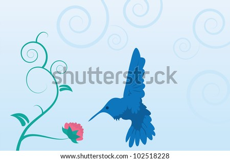 Blue hummingbird and flower on vine with leaves - stock vector
