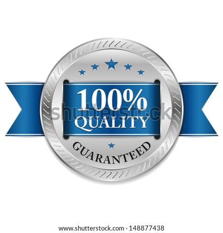 Blue hundred percent quality badge - stock vector
