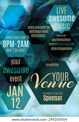 Blue Ice polygon themed flyer for a night club event - stock vector