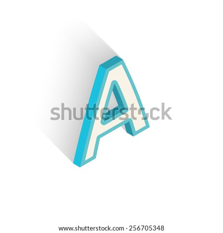 Blue icon isometric letter A with a shadow on a white background. Vector Illustration - stock vector