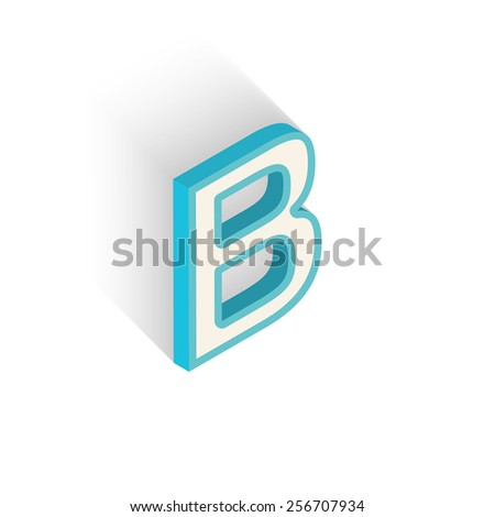 Blue icon isometric letter B with a shadow on a white background. Vector Illustration - stock vector