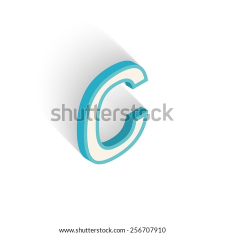 Blue icon isometric letter C with a shadow on a white background. Vector Illustration - stock vector