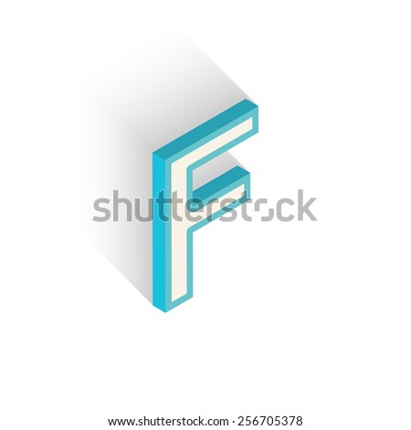 Blue icon isometric letter F with a shadow on a white background. Vector Illustration - stock vector