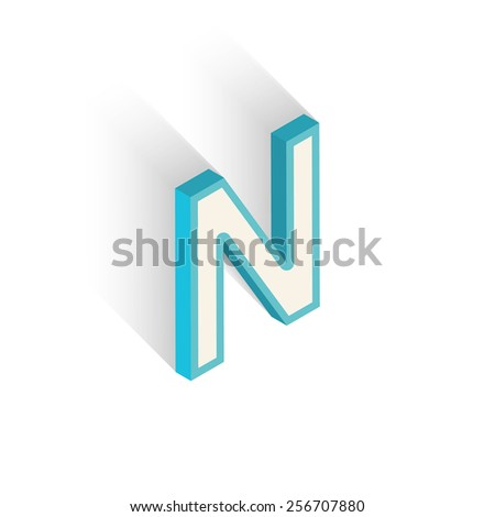 Blue icon isometric letter N with a shadow on a white background. Vector Illustration - stock vector