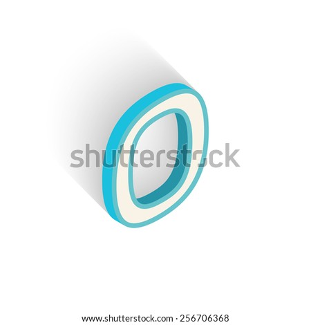 Blue icon isometric letter O with a shadow on a white background. Vector Illustration - stock vector
