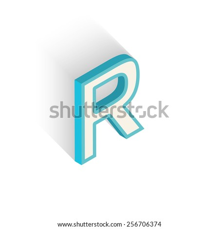 Blue icon isometric letter R with a shadow on a white background. Vector Illustration - stock vector