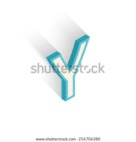 Blue icon isometric letter Y with a shadow on a white background. Vector Illustration - stock vector