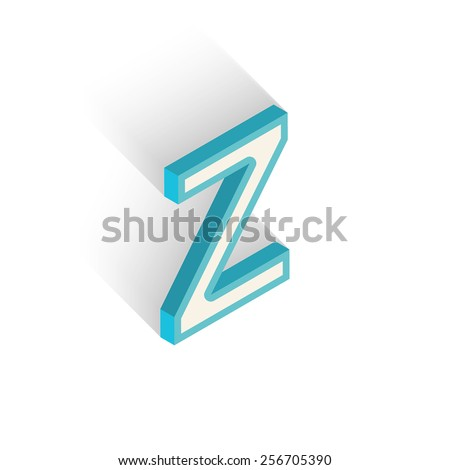 Blue icon isometric letter Z with a shadow on a white background. Vector Illustration - stock vector