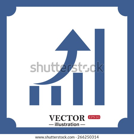 blue icon on white background.  growth of business, web icon. vector design - stock vector