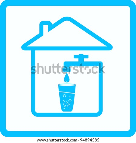 blue icon with tap, glass and drop water - stock vector