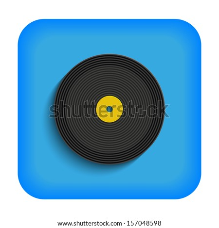 Blue icon with the image of a vinyl record - stock vector