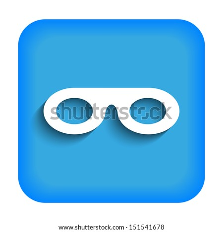 Blue icon with the image of mask - stock vector