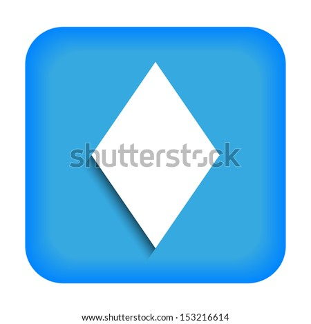 Blue icon with the image of rustrakehner color diamonds ace - stock vector