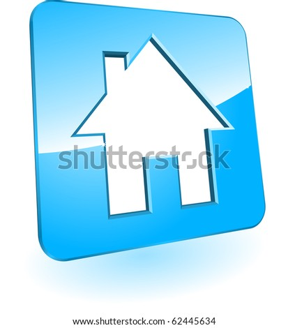 Blue icon with white house - stock vector