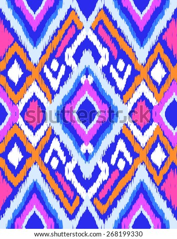 Blue ikat design ~ seamless background - stock vector