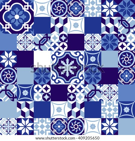 Blue indigo pattern in patchwork style, traditional ceramic mosaic tile decoration. EPS10 vector. - stock vector