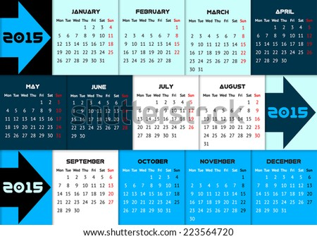 Blue infographic calendar 2015 with arrows and quarter color coding - stock vector