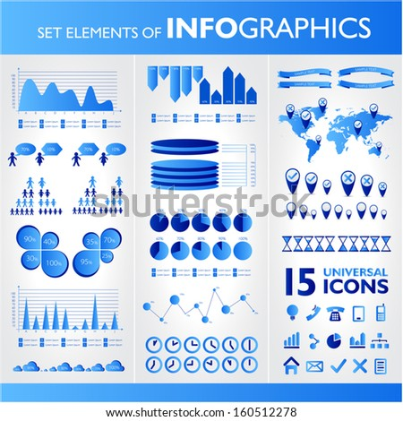 Blue infographic set  - stock vector