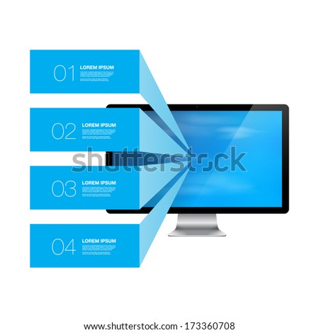 Blue infographic text boxes with realistic 3d computer monitor with blue sky wallpaper Eps 10 vector illustration   - stock vector