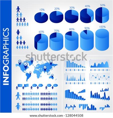 Blue infographics set - stock vector