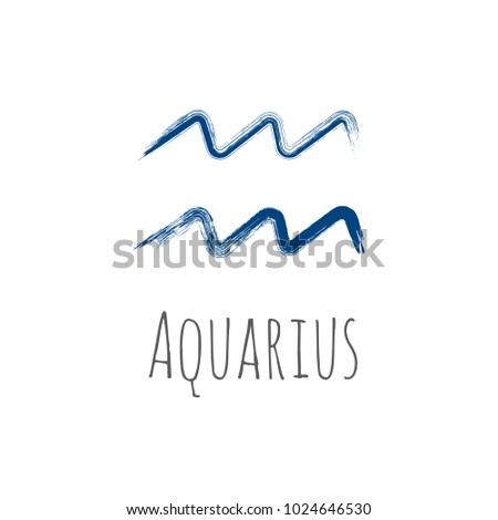 blue ink aquarius zodiac sign hand stock vector royalty free